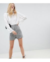 ASOS - Asos Design Tall Boucle Mini Skirt With Asymmetric Zip - Lyst