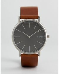 Skagen - Skw6429 Signatur Slim Leather Watch In Tan - Lyst