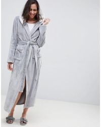 ASOS - Supersoft Fleece Midi Robe With Contrast Lining - Lyst
