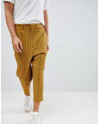 ASOS - Drop Crotch Tapered Smart Sweatpants In Yellow Pinstripe - Lyst