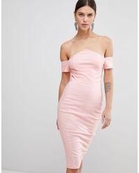 Vesper - Bardot Pencil Dress - Lyst