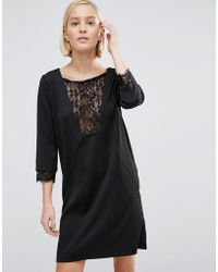 Minimum - Shift Dress With Lace Panel - Lyst