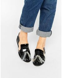 House of Holland - Black Tassel Cut Out Flat Shoes - Lyst