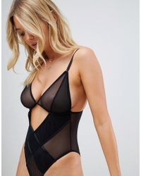 Wolf & Whistle - Sheer Mesh Cut Our Detail Body In Black - Lyst