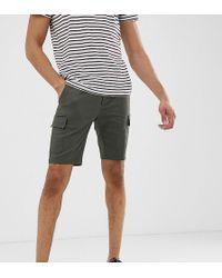 ASOS - Pantalones cortos cargo ajustados caqui de Tall - Lyst