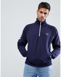 Fred Perry - Sports Authentic Taped Half Zip Jacket In Navy - Lyst