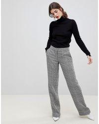Reiss - Wide Leg Pants In Check - Lyst