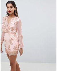 AX Paris - Long Sleeve Embellished Bodycon Dress - Lyst