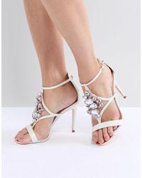 Ted Baker - Liosa Embellished T-bar Heeled Sandals - Lyst