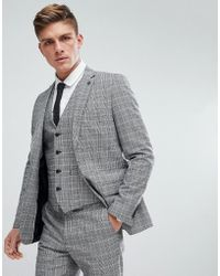 French Connection - Prince Of Wales Blue Check Slim Fit Suit Jacket - Lyst