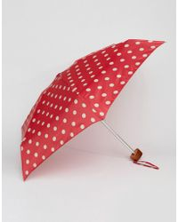 Cath Kidston - Tiny 2 Button Spot Cranberry Umbrella - Lyst