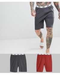 ASOS - Pyjama Shorts In Gray & Rusty Red 2 Pack - Lyst
