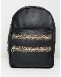 Stradivarius - Leopard Zip Tape Backpack - Lyst