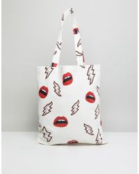 Pieces | Canvas Printed Shopper | Lyst