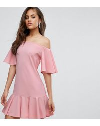 John Zack - Off Shoulder Mini Dress With Fluted Hem Detail - Lyst
