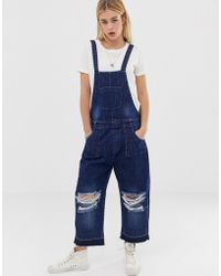 f763ee31c91 Lazy Oaf Happy Sad Dungaree Overall in Black - Lyst