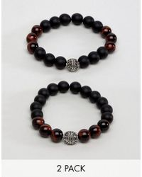 ALDO - Brown Bead & Wood Bracelet In 2 Pack - Lyst