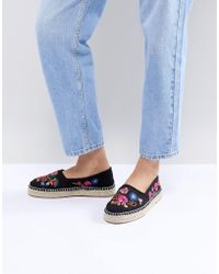 South Beach - Black Espadrilles With Floral Embroidery - Lyst