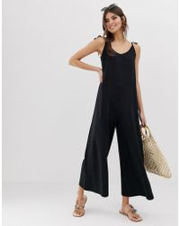 5d70ecfd11e ASOS - Minimal Jumpsuit With Tie Back In Linen Look - Lyst