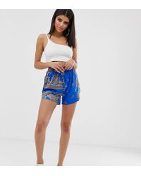 Missguided - Tie Waist Shorts In Blue Paisley Print - Lyst