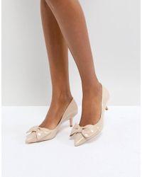 Dune - London Kitten Heel Shoe With Bow - Lyst