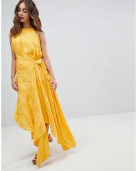 ASOS - Drape Midi Dress With Tab Side In Soft Jacquard - Lyst