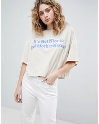 Weekday - Cropped T-shirt With Logo - Lyst