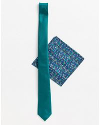 ASOS - Slim Tie In Green With Floral Pocket Square - Lyst