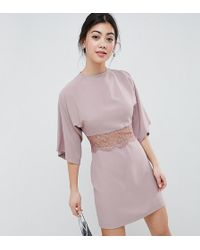 ASOS - Kimono Mini Dress With Lace Insert - Lyst
