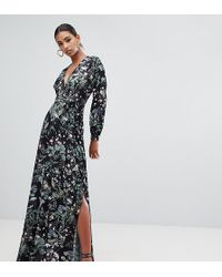 f41d914f47da Missguided - Vestito lungo allacciato in vita con stampa scura a fiori