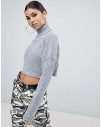 Missguided - Roll Neck Cropped Sweater - Lyst
