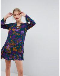 Mango - Long Sleeve Frill Hem Dress - Lyst