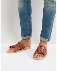 Dune | Woven Sandals In Tan Leather | Lyst