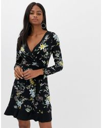Oasis - Printed Wrap Dress - Lyst