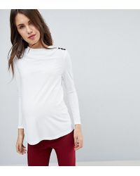 ASOS | High Drape Neck Top With Button Detail | Lyst