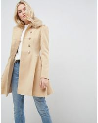 ASOS - Skater Coat With Faux Fur Collar And Button Detail - Lyst