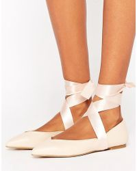 Lipsy - Lace Up Ballet Flats - Lyst