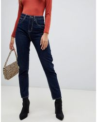 PrettyLittleThing - Contrast Stitch Straight Leg Jeans In Navy - Lyst