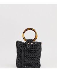 Mango - Woven Bucket Bag With Tortoiseshell Handles In Black - Lyst