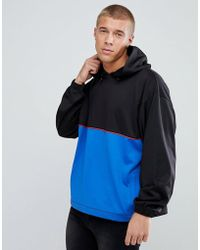 ASOS - Oversized Polytricot Hoodie With Colour Blocking - Lyst