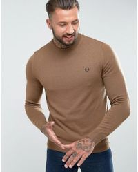Fred Perry - Merino Crew Neck Jumper In Camel - Lyst