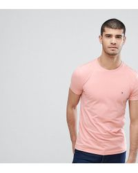Tommy Hilfiger - T-shirt Flag Logo Stretch Slim Fit In Pink Exclusive To Asos - Lyst
