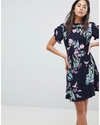 Oasis - Ruffle Sleeve Floral Printed Skater Dress - Lyst