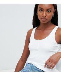 ASOS - Asos Design Tall Button Vest In Rib In White - Lyst