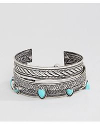 ASOS | Bangle Pack In Burnished Silver And Turquoise Stones | Lyst
