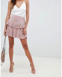 ASOS - Pleat Tiered Ruffle Mini Skirt - Lyst