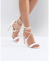 True Decadence - Satin Ankle Tie Barely There Heeled Sandal - Lyst