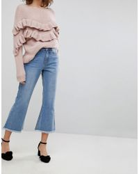 Lost Ink - Kick Flare Jeans With Raw Hems - Lyst