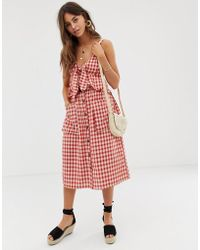 Moon River - Gingham Midi Skirt With Button Down Front And Oversized Pockets - Lyst