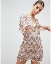 Club L - Long Sleeve Tassel Fringe Sequins Plunge Bodycon Dress - Lyst